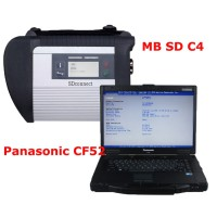 V2019.12 MB SD Connect 4 Star C5 Diagnostic Tool with 4GB Panasonic CF52 Laptop Software Pre-installed and Activated Directly to Use